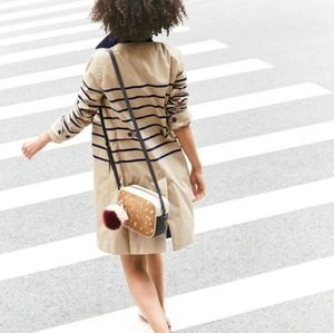 J. Crew Tan and Blue Striped Long Trench Coat